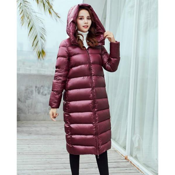 Femmes Manteau Parkas Mode solide Couleur femmes épais duvet clair capuche Long Down Parkas Manteau de maintien au chaud