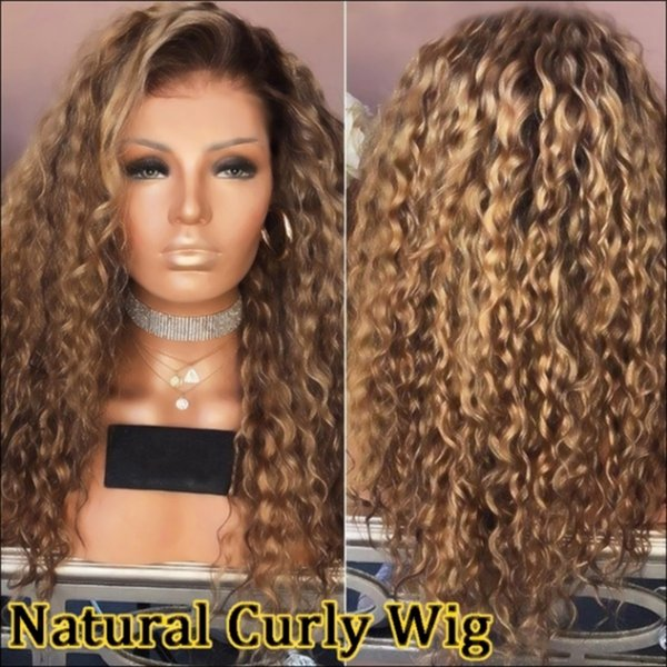Sweetheart Afro Kinky Curly Hair Dark Roots Omber Blond Heat Resistant Fiber Hair Hand Tied Daily Makeup Synthetic Lace Front Wigs for Women