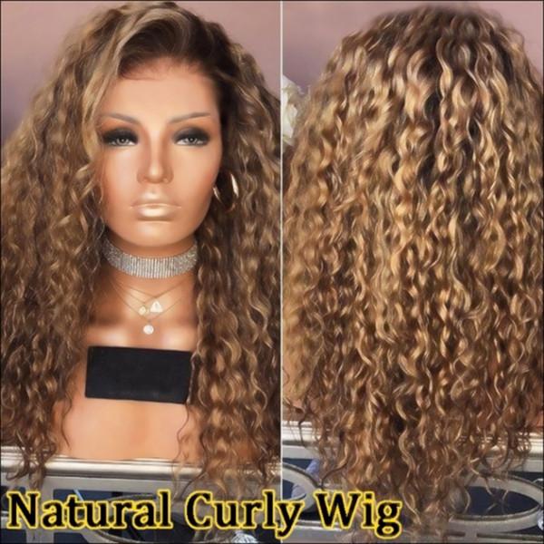 Sweetheart Afro Kinky Cabello rizado Raíces oscuras Omber Rubio Resistente al calor Fibra del cabello Atado a mano Maquillaje diario Pelucas delanteras de encaje sintético para mujeres