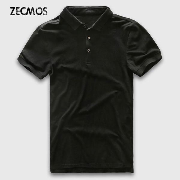 Polo-Shirt Männer Slim Fit Luxus-Polo-Men Kurzarm Solide Baumwolle Geschäfts beiläufige Art und Weise Jerseys Marken-Sommer-Polo-Mann Gut