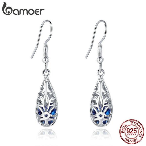 Bamoer 100% 925 Sterling Silver Droplets Geometric Simple Openwork Drop Earrings For Women Authentic Silver Jewelry Sce466 Y19062703