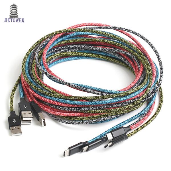 100 pz / lotto 1 m 2 m 3 m colorato filato di stoffa micro pin / USB tipo C tessuto nylon intrecciato usb cavo di sincronizzazione di dati del caricatore per samsung tipo C