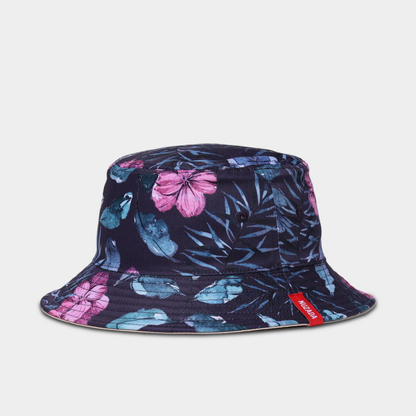 b9089ebd 3D Floral Print Flat Top Bucket Hat Hawaii Hat Cap Summer Sun Cap Fisherman  Hat 9