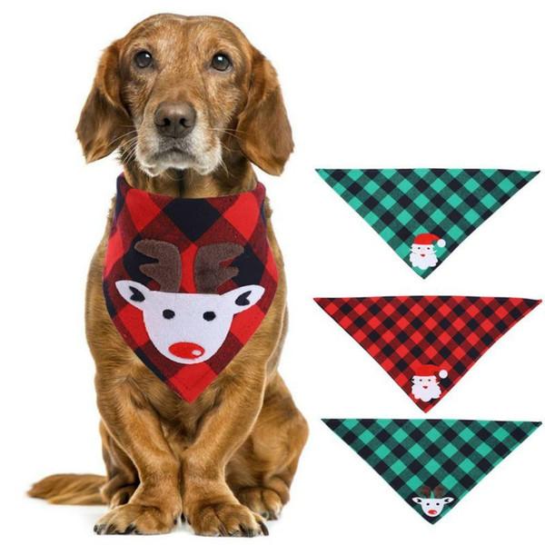 best selling Christmas Cat Dog Bandana Bibs Scarf Collar Adjustable Pet Neckerchief Scarf Waterproof Saliva Towel for Small Medium Large Dogs
