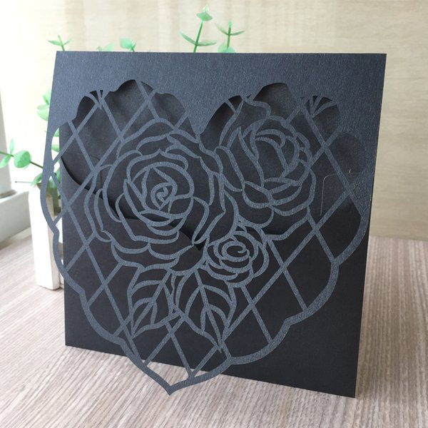 35PCS /lot Hollow Laser Cut Ross And Heart Wedding Invitation Cards Valentine's Day Gift Cards Supplies