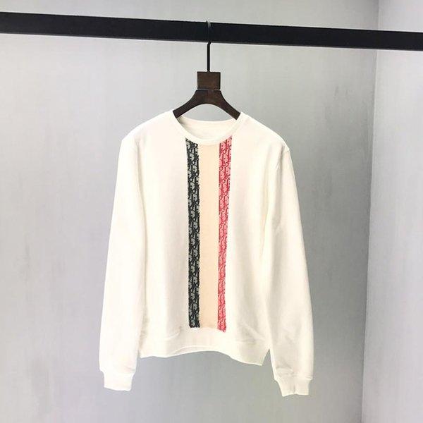 Großhandel 19ss Herren Designer Hoodies Pullover Sweatshirts Frankreich Schwarz Weiß Rot Streifen Drucken Neue Label Crew Neck Kleidung Von