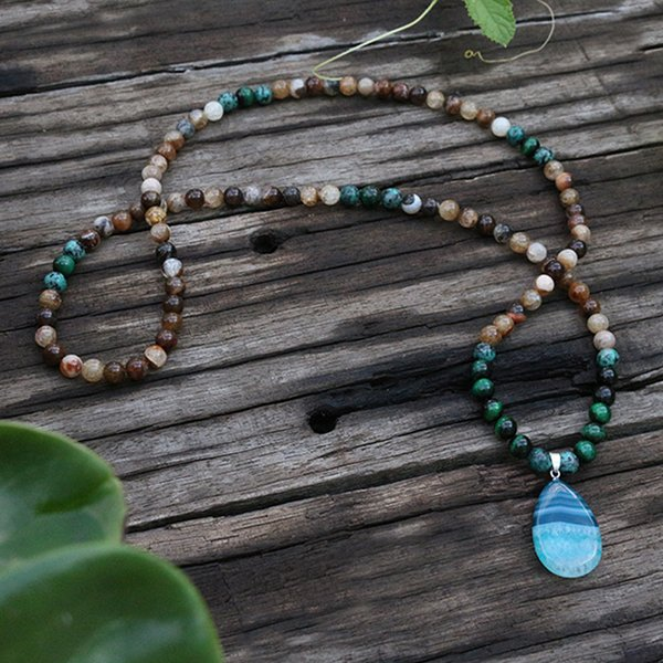 8mm flower coffee onyx, dyed green tigers eye, green stone, japamala, yoga necklace,spiritual jewelry,meditation, 108 mala beads, Silver