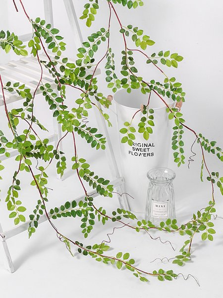Simulation willow eucalyptus leaves fake flower rattan green leaves landscaping ceiling decoration vine green plastic tree leaf