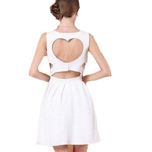 WIIPU Damen Weiß Sexy Heart Open Back Cocktail Schlank Minikleid (J460)