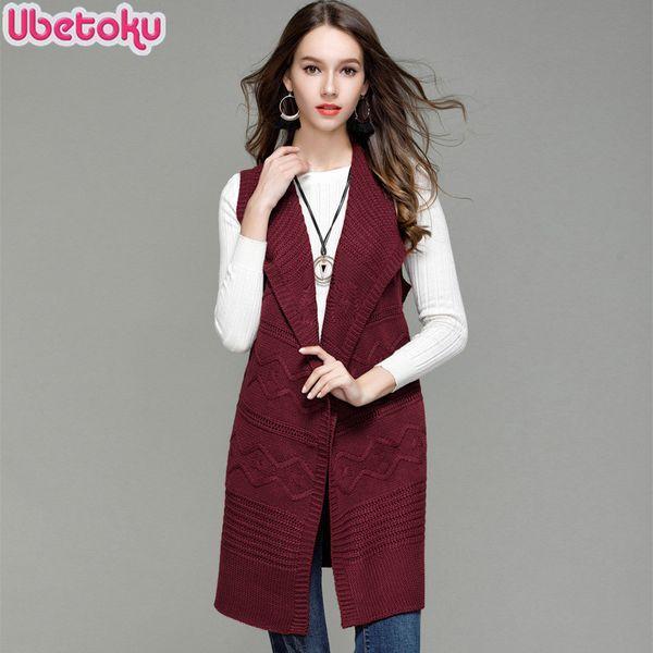 2018 Ubetoku Autumn winter women knit sweaters lady sleeveless cardigan solid loose fashion young women long outerwear