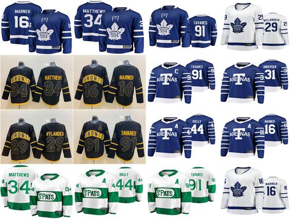 Toronto Maple Leafs Jerseys 16 Mitchell Marner Jersey 91 John Tavares 34 Auston Matthews Ice Hockey Jerseys costurado