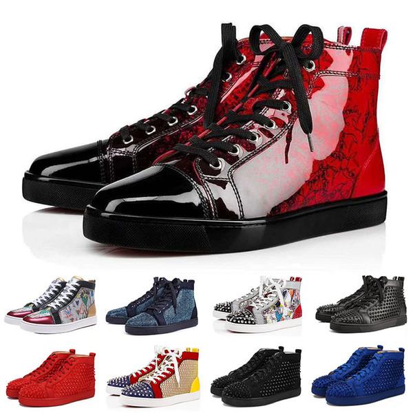 Großhandel Christian Louboutin Red Bottoms Designer Mode Luxus Marke Red Bottoms Studded Spikes Wohnungen Schuhe Für Männer Frauen Glitter Party