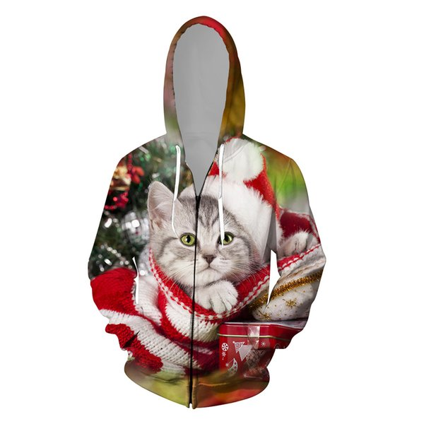 2019 Christmas Clothing Unisex Jackets Hooded Long Sleeve Zipper Coat Funny Santa Claus Red Jacket Autumn Winter Tops Tee
