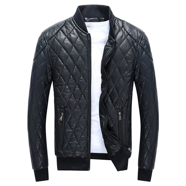High Quality Stand Collar Outerwear Patchwork Argyle Warm Velvet Jacket Male Winter Man Solid Color Jacket Pockets Coats