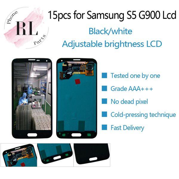 Display LCD 15PCS per Samsung Galaxy S5 G900 G900F G900M SM-G900F LCD touch screen digitizer vetro parti di montaggio
