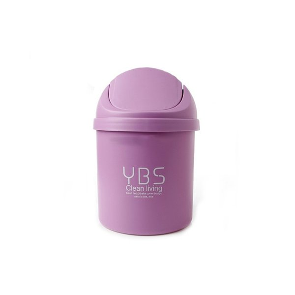 New Plastic Small Waste Bin Cute Mini Trash Can Desktop Trash Basket Table Home Office Can Cleaning Tools With Lid Trash ZJ0270
