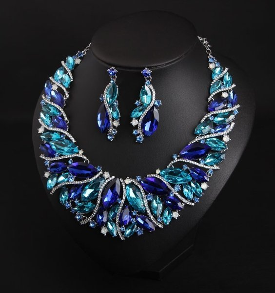 best selling Fashion Bridal Jewelry Sets Wedding Necklace Earring For Brides Party Prom Costume Accessories Decoration Women D18101003