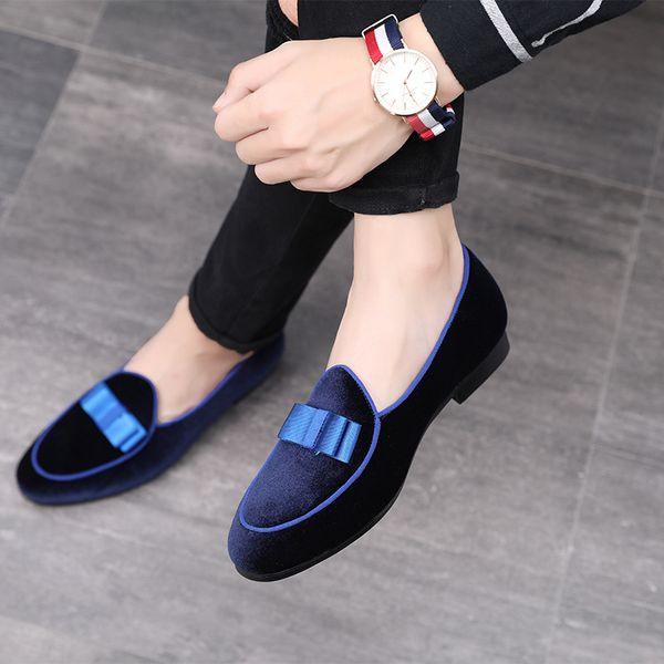 Allwesome Herren Bowknot Formale Schuhe Männer Hochzeit Kleid Schuhe Rote Wildleder Müßiggänger 2019 Casual Business Leder Moccas