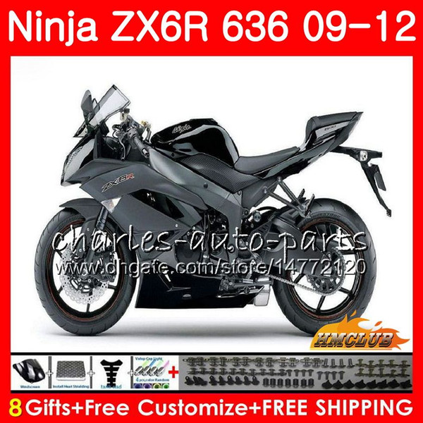 Kit Pour KAWASAKI NINJA ZX-6R ZX636 ZX600 ZX-636 33NO.26 ZX 636 600CC 6 R ZX 6R 2009 haut gris brillant 2010 2011 2012 ZX6R 09 10 11 12 Carénages