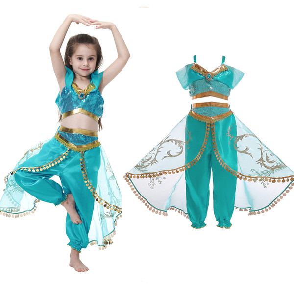 top popular Children's clothing new set kids costumes Aladdin magic lamp jasmine cosplay princess dress party imitation free shipping 2021