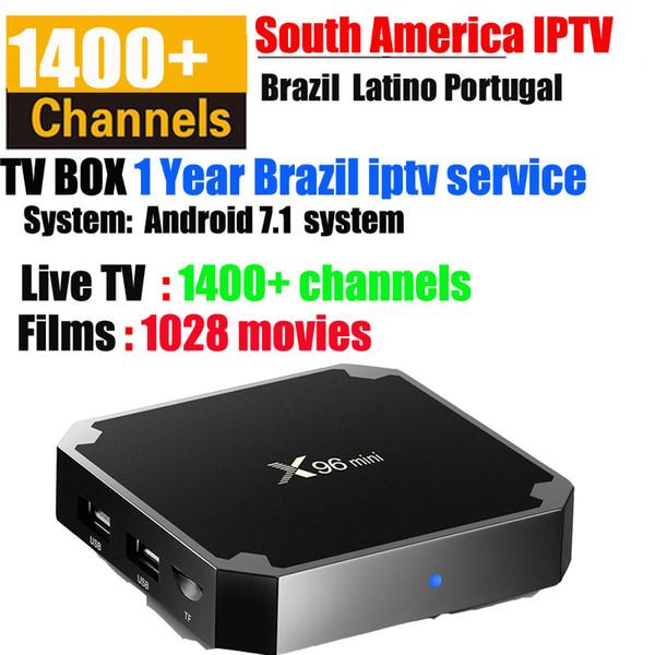 x96 mini android 7.1 os tv kutusu ile brezilya + kanallar vod portekiz ispanya brezilya globo REDE latino iptv 1000 + filmler 1400+ canlı 4k video