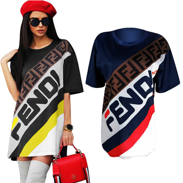 Women T-Shirt Dress F Letter Printed Sports Skirt Summer Loose Short Sleeve T shirts Long Tee Fashion Striped Short Skirt Boutique 2019 C436