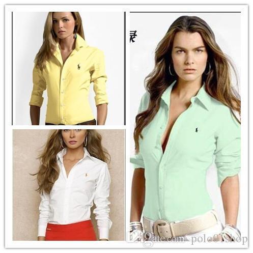 Ma'am Coton Solide Polo Polo À Manches Longues Sport T-shirts Broderie petit Cheval Logo Plus La Taille USA Drapeau Américain Italie Angleterre Brésil
