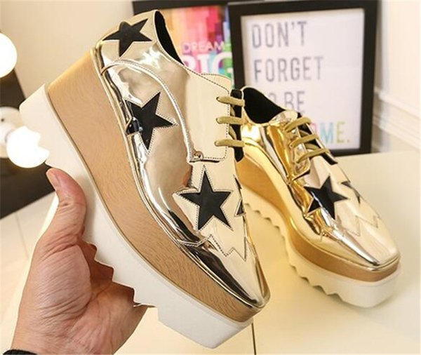 New Fashion Women Square Toe Pentagram High Platform Casual Shoes Stars Printed Height Increasing Women Casual Shoes