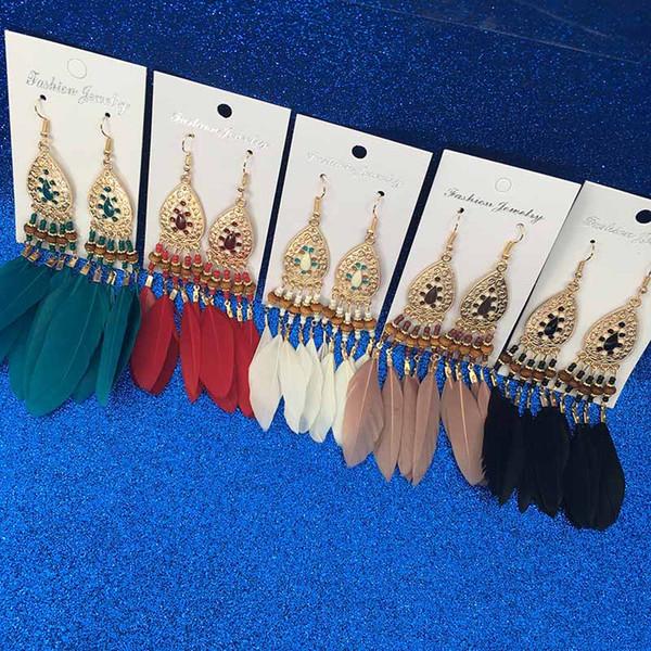 Orecchino di piume di moda nappa lunga stile etnico Boho grande ciondola dichiarazione orecchini orecchini da sposa accessori vendita calda 2020 all'ingrosso