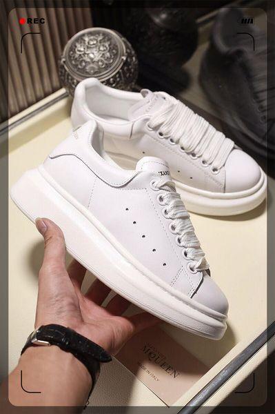 M49 2019 la plataforma del cuero Alexander Mens de lujo blanco Mujeres de moda McQueen zapatos zapatos de calidad superior del cuero genuino zapatilla de deporte