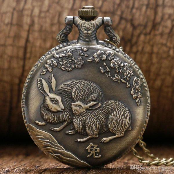 Uğurlu Tavşan Kuvars Pocket saat Vintage Casual Çin Zodyak Bunny Hayvan Erik Zarif Kolye Zinciri Ücretsiz Nakliye