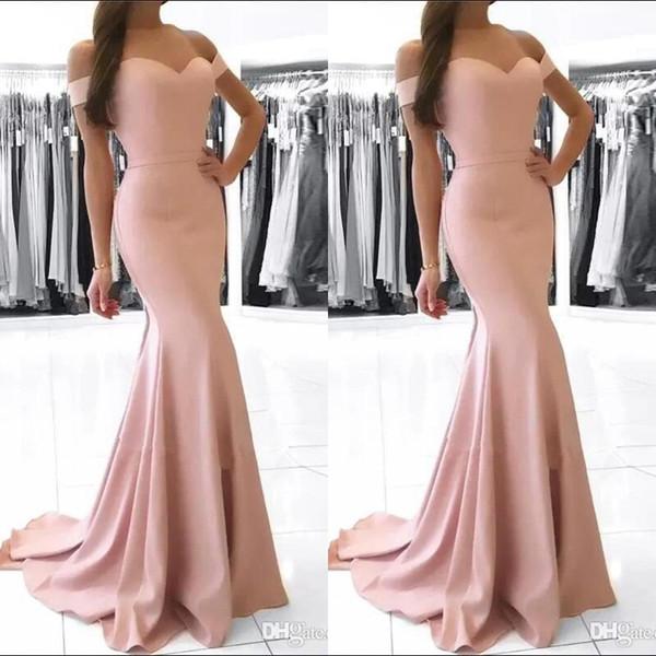 Vestidos 2020 Elegante Rosa Vestidos de Noite Sereia Fora do Ombro Cetim Vestidos de Baile Longos Vestidos de Noite Barato Vestidos de Dama de Honra BM0983