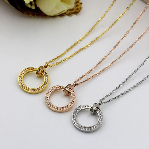 Stainless Steel Fashion Love Nails Nail Hot Rose Gold 18k Clavicle Chain Ms. Necklace, Eternal Love and Friendship Women Gifts