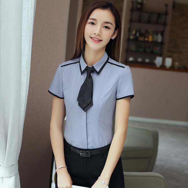 Short White Shirt Woman Korean Fan All-match Small Lead Self-cultivation Correct Dress Business Affairs Woman Shirt Occupation Hold Cotton