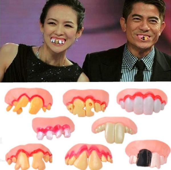Смешные Зубы Шутки Необычных вставные зубы апреля Дурак Хэллоуин Freak зубы Стивена Кинга ее пластичное Поддельный Зуб зубных протезов FestivalParty Supplies