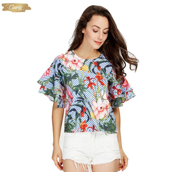 Damen Bluse Süße Rüschen kurzen Hülsen-lose Blumen Shirts Kurzarm O Ansatz europäischen Art-Blumen-Print Tops Blusas Dt1052