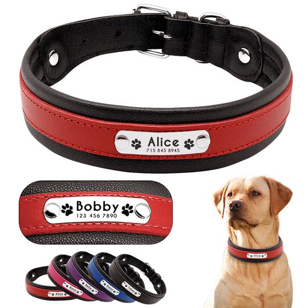 Personalizado de Couro Coleira de Cachorro Personalizado Gravado Pet Big Dog Coleiras de Buldogue Acolchoado Para Médio Grande Cães Perro Pitbull