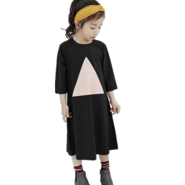 De 4 a 16 años, niños niñas adolescentes, media manga, estampado de triángulos, algodón, estilo informal, camiseta con mangas, vestido de primavera, otoño, vestidos midi.