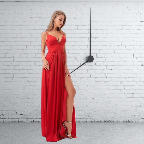 Sexy Backless Dividir Frente Verão Até O Chão Vestido Profundo Decote Em V Vestido de Festa de Cetim Vermelho Sem Mangas Acolchoado Vestido MX190727