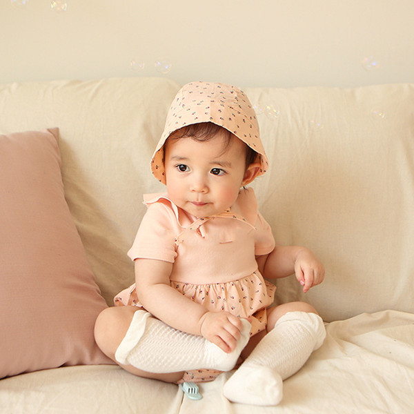 Baby Girl Clothing Ins infant girl romper Summer Pet Pan Collar Short Sleeve Cherry print romper baby romper 100% cotton clothing