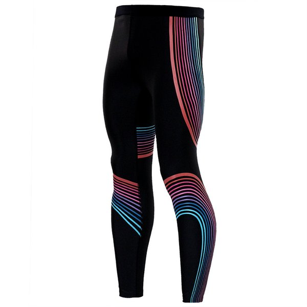 Wholesale-Compression Tights Colorful Line Design Long Pants Fitness Leggings Men Slim Fit Wear Joggers Exercise Bodybuilding Trousers