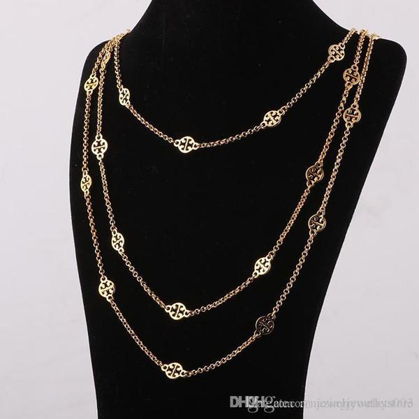 Top Brand material de latão ornamento oco pingentes em três camadas banhado a ouro e prata comprimento do colar 68 cm / 77 cm / 88 cm para mulheres jóias