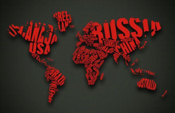 Mapa del mundo con palabras como el arte del país Póster con impresión de seda 24x36 pulgadas (60x90cm) 088
