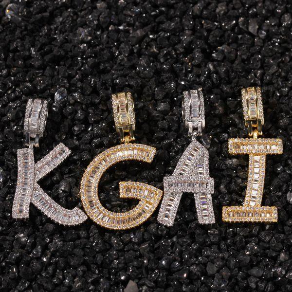 Hip Hop Mikro Kaplamalı Kare CZ Kübik Zirkonya Bling Erkekler için Buzlu Out Mektup Kolye Kolye Rapçi Takı Altın Gümüş Kolye