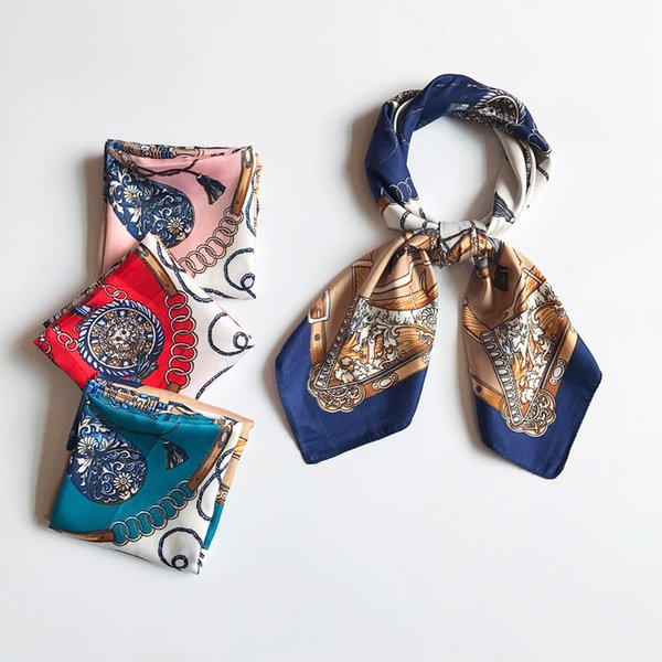 70cm Women Silk Square Scarf Print Belt Bottle Pattern Bandana Neck wear Stylish Soft Head Scarf NEW [3684]