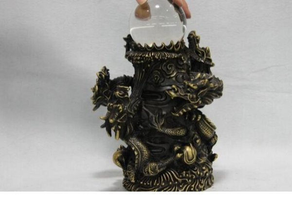NEW ' SCY Collectible bronze lion statue S1042 China Brass Copper Wealth imperial family Five Dragons Play Bead Feng Shui Ball B0403