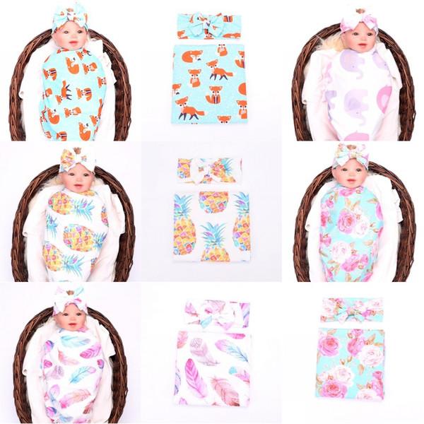 Kids Cotton Floral Blankets+Headband 2pcs/set Infant Elephant Pineapple Feather Fox Flower Printed Swaddles Baby Bed Sheet Sleeping Bag