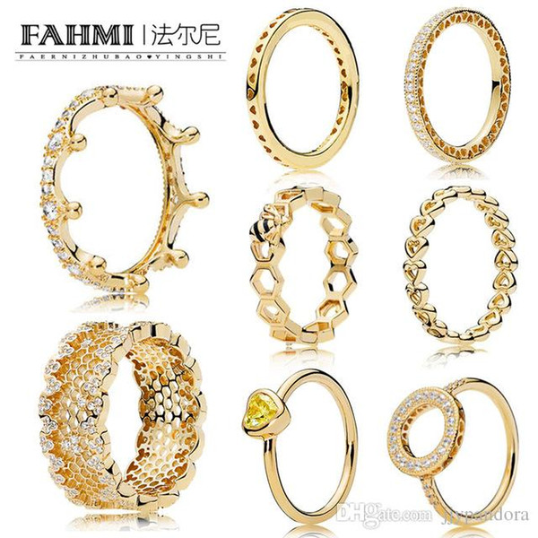 FAHMI 100% 925 Sterling Silver Glamour 18K Gold Shining Series Magic Crown Hollow Ring Honeycomb Honey Ring Women Original
