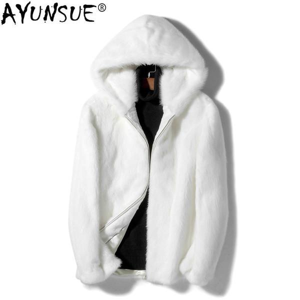 AYUNSUE Mens Mink Coat Warm Winter Jacket Men Real Fur Coat hooded Short White Mink Jackets Heren Winter Jassen KJ1525