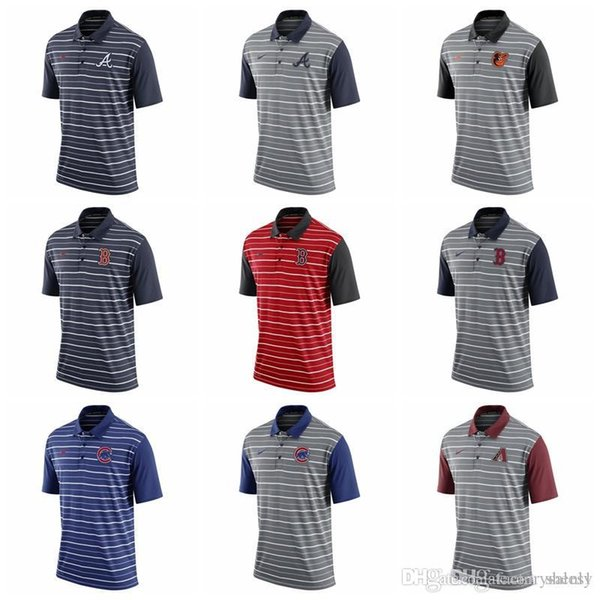 Cotton Hot sale NEW 2019 Herren White Sox Reds Indianer Rockies Tiger Diamondbacks Braves Orioles Red Sox Cubs Royal Stripe Polo